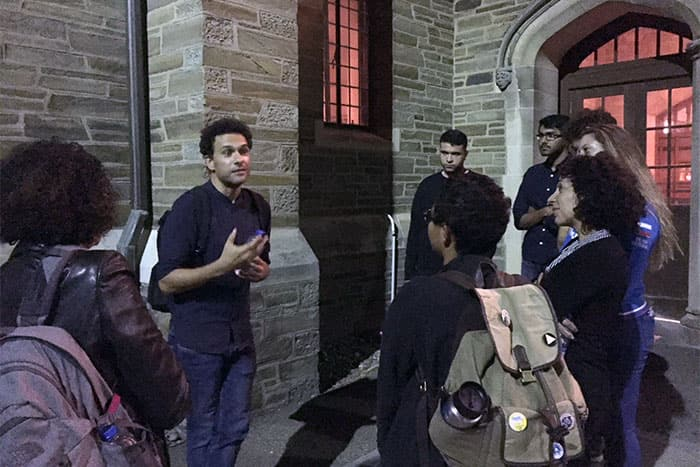 Filmmaker Tamer El Said speaking with students outside of Willard Straight Theatre, LAST DAYS OF THE CITY, Sept 2018