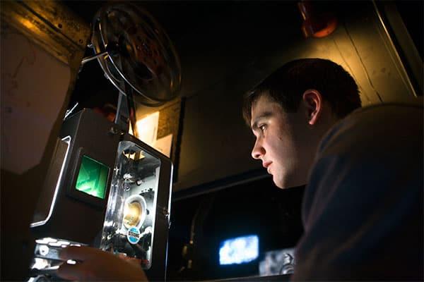 Student Ben Stamp at Cornell Cinema.