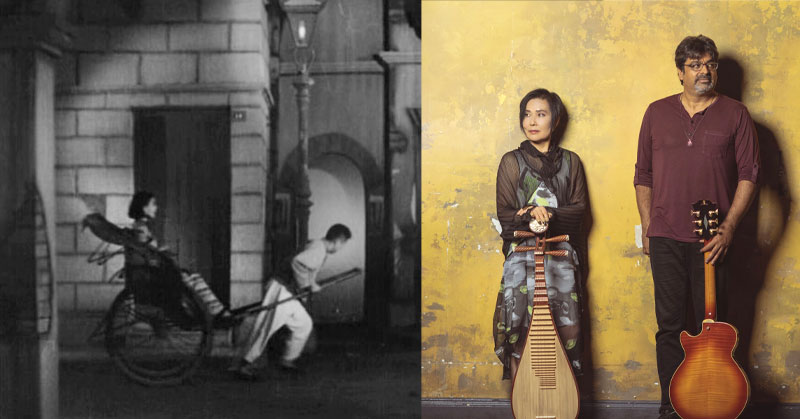 image of musicians Min Xiao-Fen and Rez Abbasi plus image from the silent film THE GODDESS