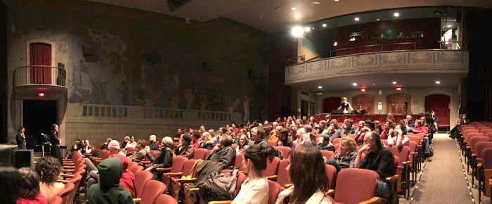 audience in the Willard Straight Theatre auditorium (facing balcony)