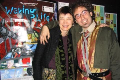 "Timothy ""Speed"" Levitch with director Mary Fessenden in advance of his multi-media performance 'Speed Levitch: Live from Inner Space,' October 23, 2003,"